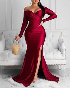 Off Shoulder Ruched Slit Evening Dress Find More Stylish Women Swimwear, Dresses, Jumpsuits, Sets, Tops & Bottoms. Elegant Dresses, Casual Dresses, Formal Dresses, Dress Outfits, Fashion Dresses, Evening Dresses, Prom Dresses, Bridesmaid Dresses, Trend Fashion