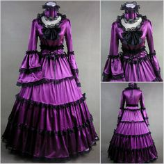 Purple Medieval Renaissance Gothic Lolita Dress Gowns Cosplay Costumes for Masquerade Halloween SKU-305016