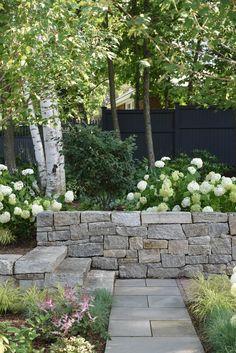 Garden Landscape Design, House Landscape, Backyard Patio, Backyard Landscaping, Outdoor Rooms, Outdoor Living, Landscaping Retaining Walls, Garden Stones, Back Gardens