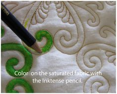 Coloring quilts with inktense pencils and aloe vera gel