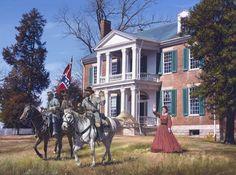Painting by John Paul Strain - General Nathan Bedford Forrest, Major J.P. Strange, & Mrs. Caroline McGavock at Carnton Plantation