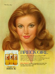 One of the Breck Girls in the Breck Shampoo ads. The model was Rebecca Holden. Vintage Advertisements, Vintage Ads, Vintage Stuff, Vintage Images, Vintage Items, Sweet Memories, Childhood Memories, School Memories, Rebecca Holden