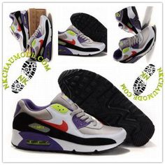 Mode | Nike Chaussure Sport Air Max 90 Homme Gris Blanc Violet