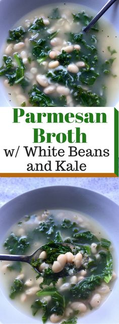 Parmesan Broth with White Beans and Kale - Hello Fun Seekers Quick Recipes, Light Recipes, Soup Recipes, Vegetarian Recipes, Easy Homemade Snacks, Parmesan Rind, Soup Crocks, Veggie Side Dishes, How To Cook Quinoa