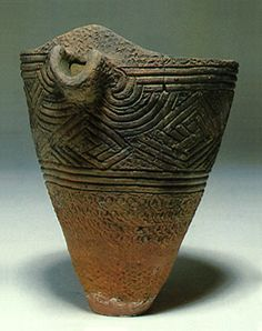 Deep clay pot with the beak.. Jomon period. Chiba Japan.  BC.5,000 - BC.3,500.