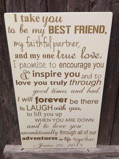 Third Anniversary Gift Anniversary Gift Wedding Vows Wood Sign Personalized Wedding Anniversary Gift I Take You To Be My Best Friend is part of Third anniversary gifts - LilMissScrappy section id shopsection leftnav 2 Before Wedding, Our Wedding, Wedding Gifts, Wedding Ideas, Trendy Wedding, Wedding Quotes, Wedding Rustic, Wedding Details, Wedding Venues