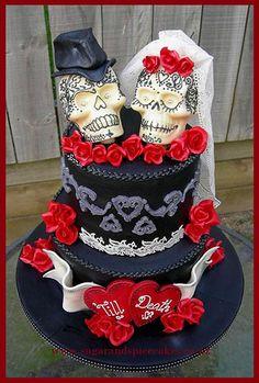 skull wedding cakes on pinterest skull wedding skull cakes and sugar skull wedding. Black Bedroom Furniture Sets. Home Design Ideas