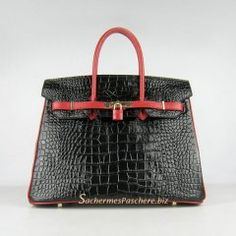 Sacs Hermès Pas Cher Birkin 35cm Crocodile Veins Cuir Sac Noir/Rouge 6089