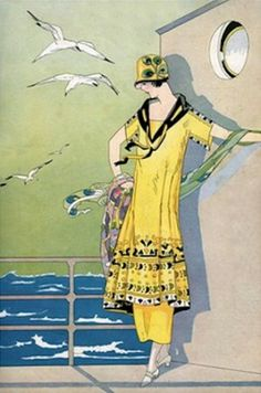 Art Deco Poster Woman on Cruise Ship