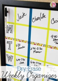 In 15 minutes (or less!), make this Dry-Erase Weekly Schedule Board to help stay on top of your family's weekly activities. @Scotch  #ScotchBTS #ad