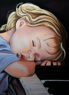 par Catherine Wernette, pastrel sec,LUCAS, le petit pianiste endormi