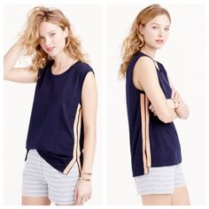 "J.Crew metallic side stripe tank in blush PRICE FIRM With metallic side stripes, your favorite tank top is now appropriate to wear pretty much everywhere.  Cotton. Machine wash. Slightly loose fit. Runs large.  Body length: 26"". No trades. All sales final. J. Crew Tops Tank Tops"