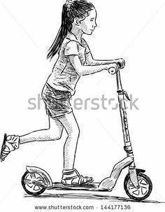 girl on scooter - stock vector