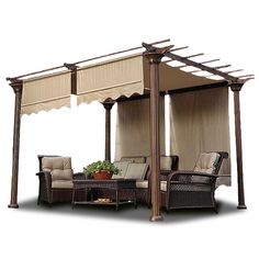 "Shade Dimension: 15-1/2 x 4Ft (186""L x 48""W) Replacement canopy top for your existing metal or wood pergola frame Specially look with scalloped edge UV30+ 2-layer protective canopy"