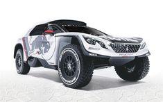 Download wallpapers Peugeot 3008 DKR, Dakar 2018, tuning, racing cars, Peugeot