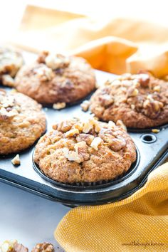 These Best Ever Banana Nut Muffins are the BEST banana muffins you'll ever make, with a delicious and sweet walnut topping! Best Muffin Recipe, Simple Muffin Recipe, Muffin Recipes, Banana Walnut Bread, Banana Nut Muffins, Banana Walnut Muffins Moist, Pastry Recipes, Dessert Recipes, Scones