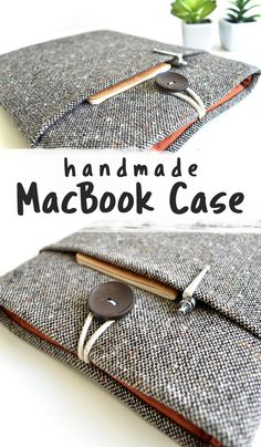 Handmade MacBook Case. A brown wool blend fabric cover with front pocket. The lining is solid spice red cotton fabric. Durable, but lightweight foam padding cushions your MacBook or laptop to keep it comfy and safe. String and button closure on top. .| sewing projects | sewing for beginners | sewing pattern | sewing macbook case #Ad
