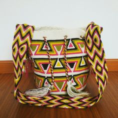 Buy your beautiful, unique #Wayuu #mochila bag now from my ebay store! Find your perfect Summer bag, all the way from #Colombia :)  Wayuu Mochila - Summer bag - Tribal Bag - Boho Bag - Beach Bag - white, patterned