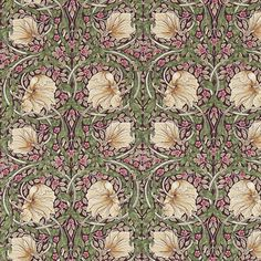 In aubergine and olive tones, flowers gracefully flow and curve in a symmetrical pattern. A marvellous design from the Morris & Co collection. Paisley Wallpaper, Chalk Pastels, Wood Engraving, William Morris, Linocut Prints, Floral Fabric, Curling, Beautiful Patterns, Soft Furnishings