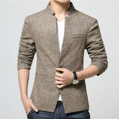 ==> [Free Shipping] Buy Best Top Fashion Korean Style Mens waist length stand collar Casual Blazers Coat Male Slim Fit Suit Jackets Overcoat Size M-4XL Online with LOWEST Price | 32794215380