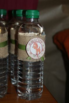 Water bottles at a Woodland Party #woodlandparty #drinks