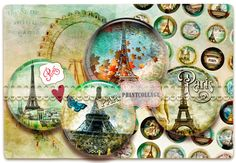 Paris - Digital Printable Sheets for button machine 1.313 inch  Instant Download by PrintCollage