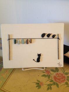 "Pebble Art - ""The Clothesline"" - Cat, Birds,"