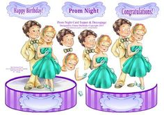 Prom Night or Engagement Shaped Card Topper with Decoupage on Craftsuprint - Add To Basket!