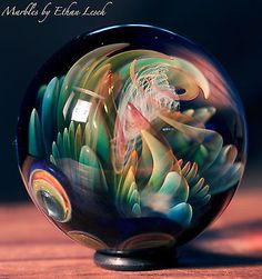 SILVER & GOLD FUMED MARBLE SIGNED BY ~ETHAN LESCH~ BOROSILICATE, BORO, ART, MIB