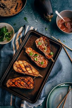 Miso glazed eggplant is a wonderful example of the delicious simplicity of Japanese food.  Soft creamy roasted eggplant topped is topped with a sweet, salty umami-laden miso topping. It's easy, delicious and packed with flavour!