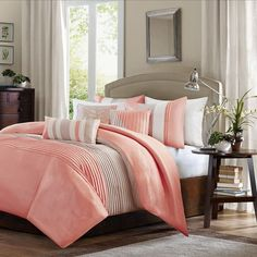 Madison Park Chester 6-pc. Duvet Cover Set, Coral ($115) ❤ liked on Polyvore featuring home, bed & bath, bedding, duvet covers, coral, green bedding, king size shams, coral pillow shams, coral bedding and king bedding