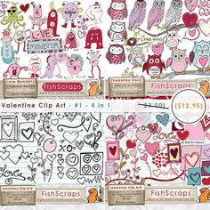 Valentine Clip Art   Special Offer 4 in 1 Graphics - Love Monsters - Pink Owls - Sale!