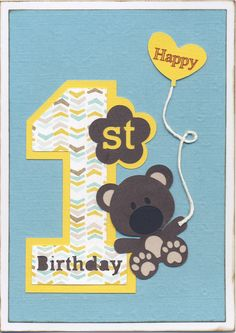 2015-072 - SILHOUETTE: Cute Baby Girl Teddy Bear, Baby Girl First Birthday Card, Heart Balloon; EF: Sizzix Texturz ABC Baby