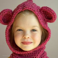 Basic hooded cowl with flower or bear cowl crochet pattern - five sizes: baby, toddler, child, teen and adult