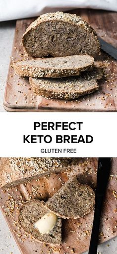 Simply the best Keto friendly, gluten free bread recipe!Simply the best Keto friendly, gluten free bread recipe! So now you can have your avo on toast after all. Packed with superfood ingredients and fibre thanks to ps Best Keto Bread, Low Carb Bread, Low Carb Keto, Carb Free Bread, Low Carb Flax Bread Recipe, Healthy Gluten Free Bread Recipe, Vegan Gluten Free Bread, Gf Bread Recipe, Dairy Free