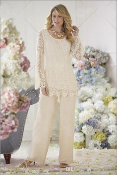 New 2015 Elegant Ivory Two Piece Mother of the Bride Dresses Pant Suit Mother of the Bride Lace Dresses