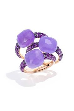 """Pomellato """"Capri"""" rings in rose Gold with dyed lavender Jade and Amethysts. Photo courtesy of Pomellato. The Purple, Pomellato, Jewelry Rings, Jewelry Accessories, Fine Jewelry, Jewellery, Bling Bling, Bijoux Design, Purple Jewelry"""