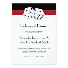 Las Vegas Rehearsal Dinner Dice Theme Ruby Red Card
