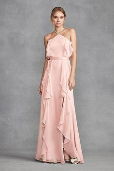 c5a01d5a87a Chiffon High-Neck Ruffle Pink Bridesmaid Dress with Tie Back by WHITE by Vera  Wang
