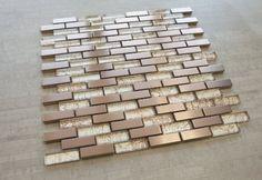 Bronze Metal & Bronze Galaxy Glass x 1 Mosaic Tile Stone Mosaic Tile, Marble Mosaic, Mosaic Glass, Relaxing Bathroom, Best Floor Tiles, Copper Sheets, Tiles Online, Mosaic Patterns, Wall Tiles
