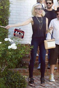 Gwen Stefani wearing L.A.M.B. Media Sandals in Black, Little Boogaweezin I Am Modern Motherhood Black Round Sunglasses and L.A.M.B. Gidget Convertible Leather Clutch