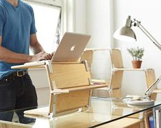 Modos handmade wooden standing desk allows you to stand while working with your laptop for healthy standing posture and improved productivity. Modular Furniture, Design Furniture, Furniture Plans, Entryway Furniture, Furniture Movers, White Furniture, Office Furniture, Wood Furniture, Office Decor