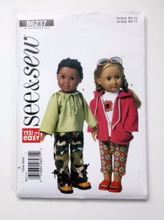 Butterick B6237 Pattern 18 Inch Girl Doll Clothes Jacket Top Capris Pants Uncut