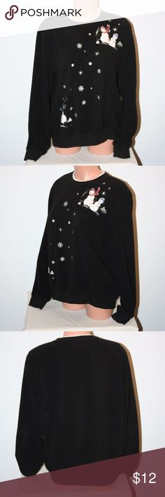 """ALFRED DUNNER Christmas Snowman Snow Medium Black Alfred Dunner  Excellent Condition - No Stains or Holes  Medium  Black With White Trim  Crewneck  Fleece Pullover  Snowman With Snowflakes on Front  Long Sleeves  Lightly Padded Shoulder Pads       Chest:  45"""" (armpit to armpit then doubled)  Length:  24""""   Sleeve Length: 24 1/2""""  100% Polyester Alfred Dunner Tops Sweatshirts & Hoodies"""