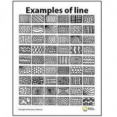 Line Pattern Handout One Page Elements of Art Principles of Design Visual Arts This is a one page line patten handout that will help students get ideas to create unique works of art. Doodle Patterns, Line Patterns, Art Patterns, Easy Zentangle Patterns, Elements Of Art Line, Design Elements, Art Doodle, Art Handouts, Art Worksheets