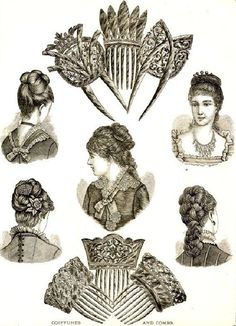 Victorian fashion illustration of the 1880s showing the complex hair dressing and hair accessories of the day