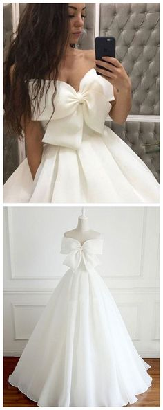 White bow long prom dress, white evening dress#