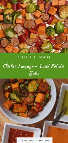 Chicken Sausage and Sweet Potato Sheet Pan Bake - The Migoni Kitchen Super simple meal-prep recipe for a Southwest sheet pan chicken sausage bake loaded with vegetables. Perfect for healthy versatile lunches all week long. Chicken Sausage Recipes, Chicken Apple Sausage, Sausage Potatoes, Clean Eating Snacks, Healthy Eating, Healthy Cooking, Keto Grilled Cheese, Sweet Potato Dinner, Cooking Recipes