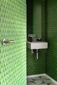 Architecture Restaurant, Interior Architecture, Green Leaf Wallpaper, Interior Exterior, Interior Design, Warm Gray Paint, Engineered Timber Flooring, Ikea Sinks, Cloakroom Basin