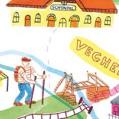 Crop of previous illustrated map for @mestmagazine #10. By Marjolein Schalk. #illustratie #illustration #illustratedmap #ink #veghel #duitslijntje #mestmag